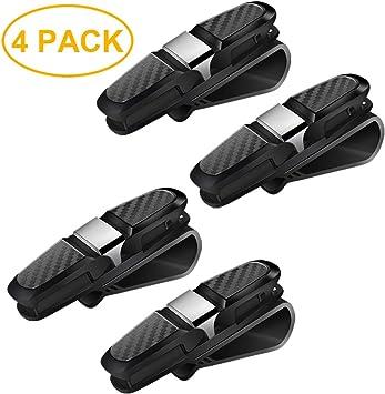 Maxure 4er Pack Brillenhalter Für Auto Sonnenblende Doppelenden Clip Kleiderbügel Sungalsses Brillenhalterung Mit Ticketkarte Clip Schwarz Auto