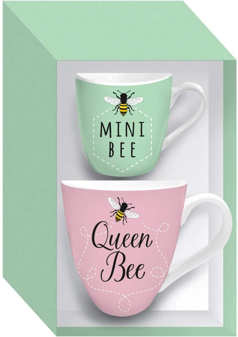 Queen Bee Mommy and Me Ceramic Cup Set for Coffee Tea Hot Chocolate with Gift Box - 6 x 4 x 4 Inches