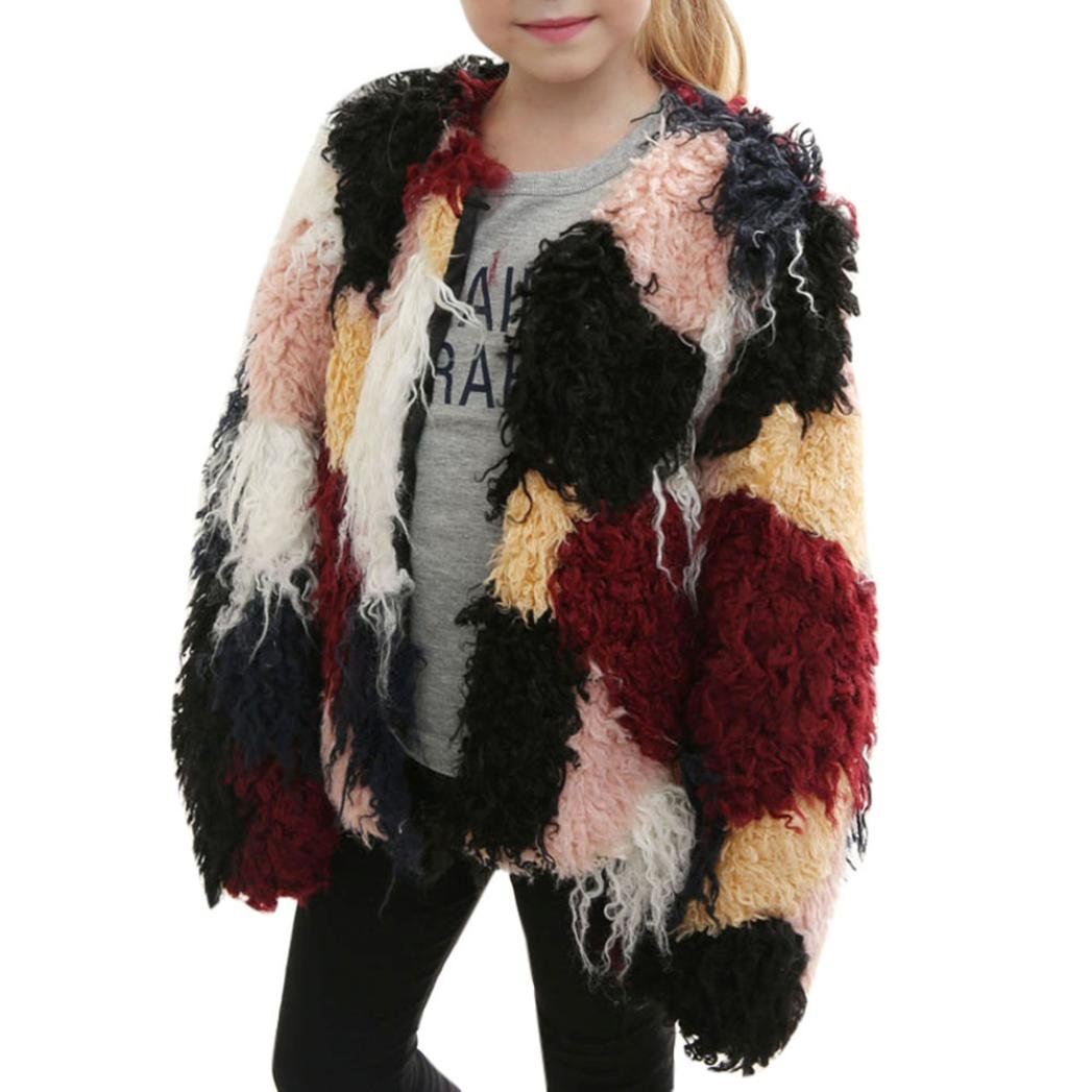 AutumnFall Kids Baby Girls Autumn Winter Faux Fur Patchwork Long Sleeve Coat Jacket Thick Warm Outwear Clothes (8T, Brown) AutumnFall®