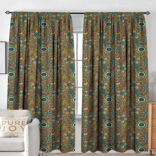 (Blackout Thermal Insulated Window Curtain Valance Floral,Abstract Floral Pattern with Blooming Petals and Leaves Swirled Geometric Lines, Multicolor,Rod Pocket Valances 60