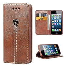 Flip Wallet Protective Case Cover for Apple iPhone 5 iPhone 5S iPhone SE - Coffee