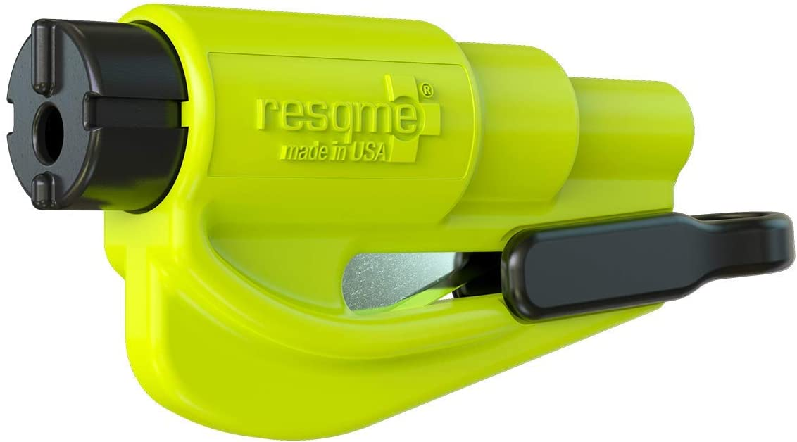 Resqme The Original Emergency Keychain Car Escape Tool, 2-in-1 Seatbelt Cutter and Window Breaker, Made in USA, Safety Yellow-Compact Emergency Hammer