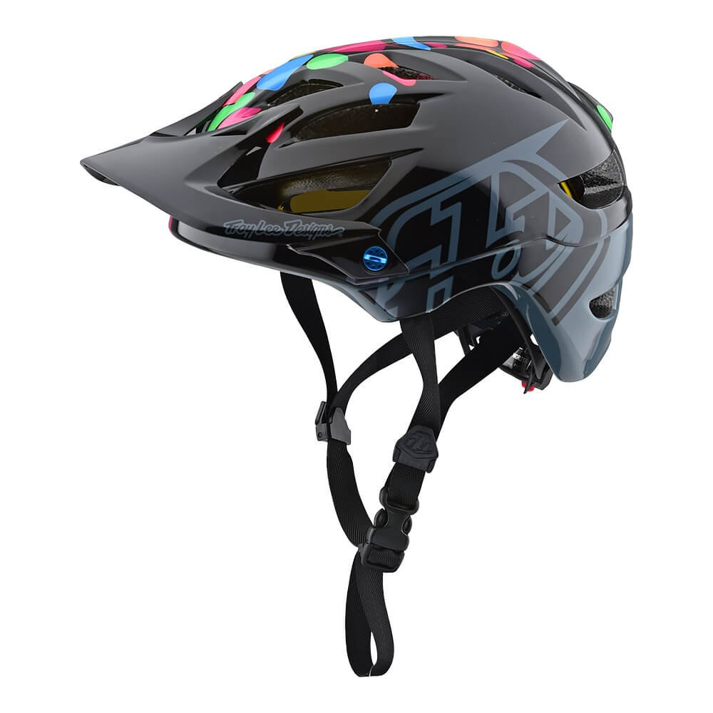 Troy Lee Designs A1 Jelly Beans Mountain Bike Kids Helmet 2018 6 Intake Passages 6 Rear Outlets Youth Black/Gray