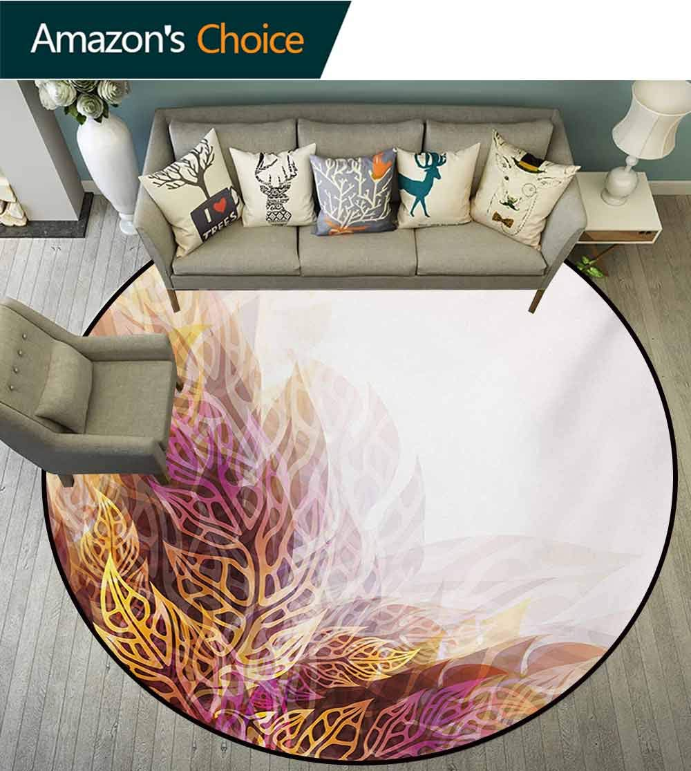 RUGSMAT Modern Art Modern Vintage Rugs,Psychedelic Floral with Blurry Leaf Visuals and Dynamic Effects Expressionist Area Rug - Perfect for Any Place,Diameter-71 Inch Yellow Purple