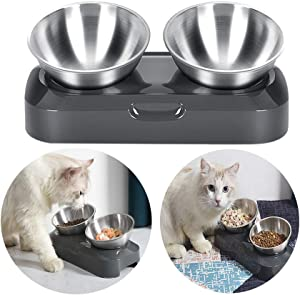 Patgoal Cats Bowls with Stander, Elevated Cats Bowls for Food Water, 15° Tilt Adjustable Bowls to Protect Cat's Neck, Nonslip No Spill Pets Feeders, Cleanable Food-grade Stainless Steel Cats Bowls