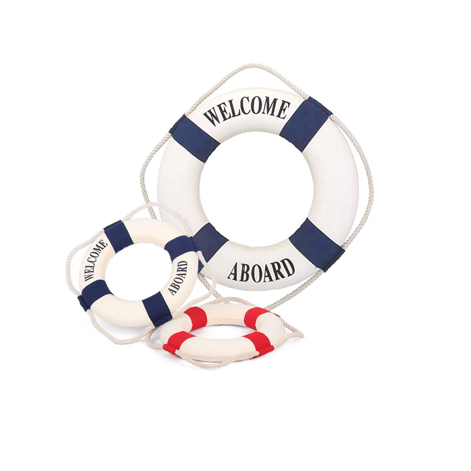 Szsrcywd Decor Life Ring, 3 PCS Welcome Aboard Life Ring Mixed Size Mediterranean Style Nautical Life Ring for Home Decoration (Red and Blue)