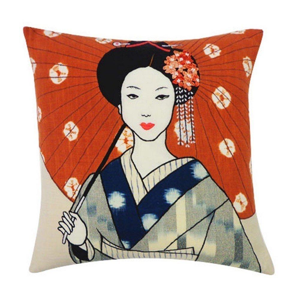 Vivai Home Rust Grey Kimono Pattern 16x 16 Square Cotton Feather Pillow