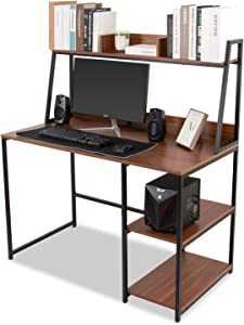 ELECWISH Computer Desk with Hutch and Bookshelf 47 Inches Home Office Desk with Space Saving Design for Small Spaces