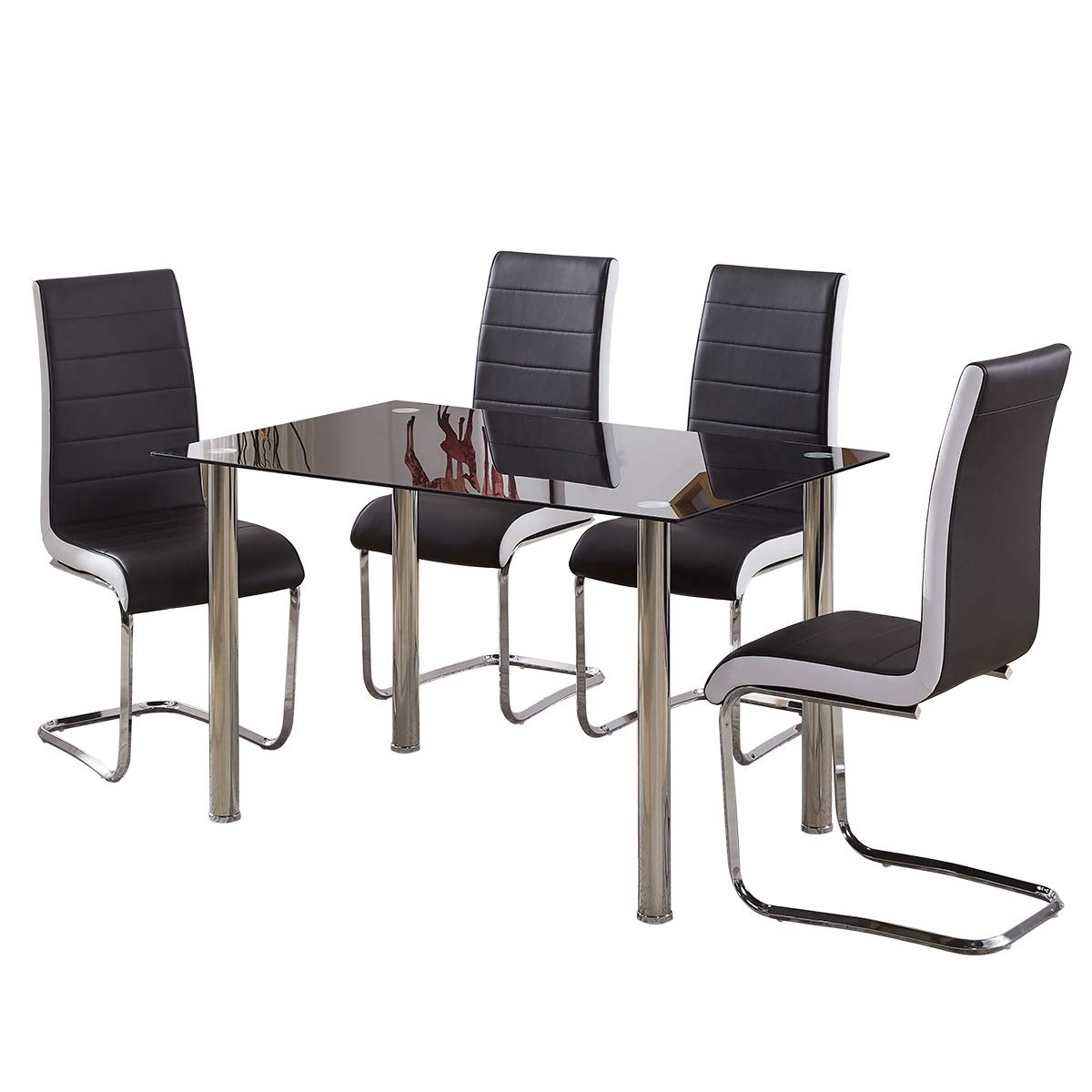 GIZZA BLACK TEMPERED GLASS DINING TABLE AND 4 BLACK/WHITE/GREY CHAIRS SET QUALITY FAUX LEATHER SEATER CHROME METAL FRAME HOME/OFFICE/RESTAURANT FURNITURE (4 Black Chairs + Table)