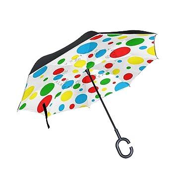 BENNIGIRY Paraguas de Doble Capa invertido con Diseño de Lunares Rojos, Resistente al Viento,