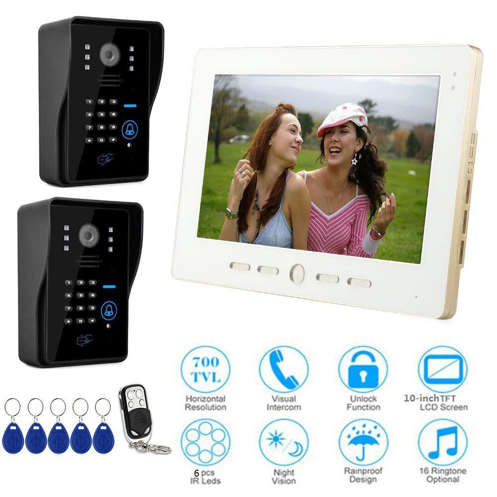 JINPENGPEN 10 Inch Intelligent Video Doorbell Remote Intercom Access Control System HD Infrared Camera,2/1
