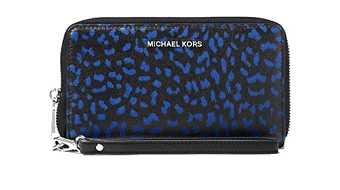 027af7824fef Image Unavailable. Image not available for. Color: MICHAEL Michael Kors Jet  Set Travel Leopard Leather Smartphone Wristlet
