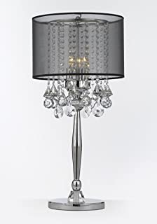 glass shade contemporary chandelier table. Silver Mist 3 Light Chrome Crystal Table Lamp With Black Shade Contemporary Modern Desk,Bedside Glass Chandelier E