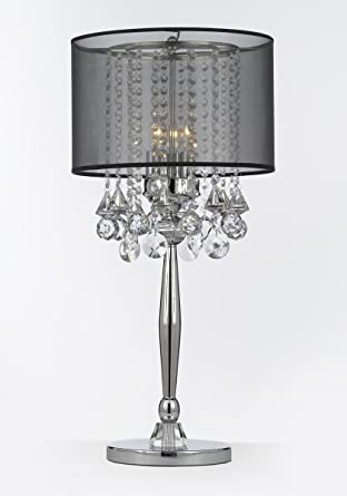 Silver mist 3 light chrome crystal table lamp with black shade contemporary modern deskbedside