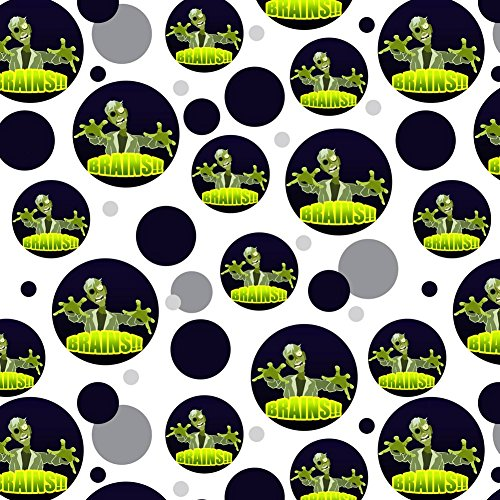 Premium Gift Wrap Wrapping Paper Roll Pattern - Zombie Undead Outbreak Apocalypse - Cartoon Zombie Reach Undead Brains ()