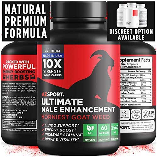 AZS Premium Male Enhancing Pills - Enlargement Booster for Men [10X Strength] - Increase Drive, Stamina & Endurance - Fast Acting & Natural Horny Goat Weed Supplement, 100mg Icariins & Cayenne Pepper