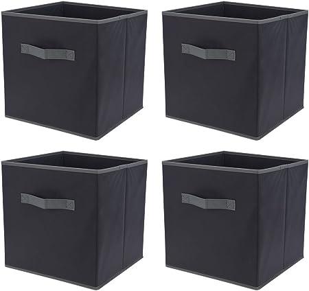 Trendfinding 4 Cajas plástico Cajas NOU Cajas Bandeja Cajas Cajas Plegables Cajas Plegable Gris 30 cm: Amazon.es: Hogar