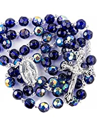 New Catholic Rosary Blue Crystal Beads Necklace Miraculous Medal & Crucifix