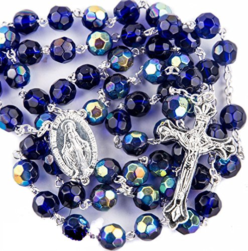 New Catholic Rosary Blue Crystal Beads Necklace Miraculous Medal & (Crystal Rosary Cross)
