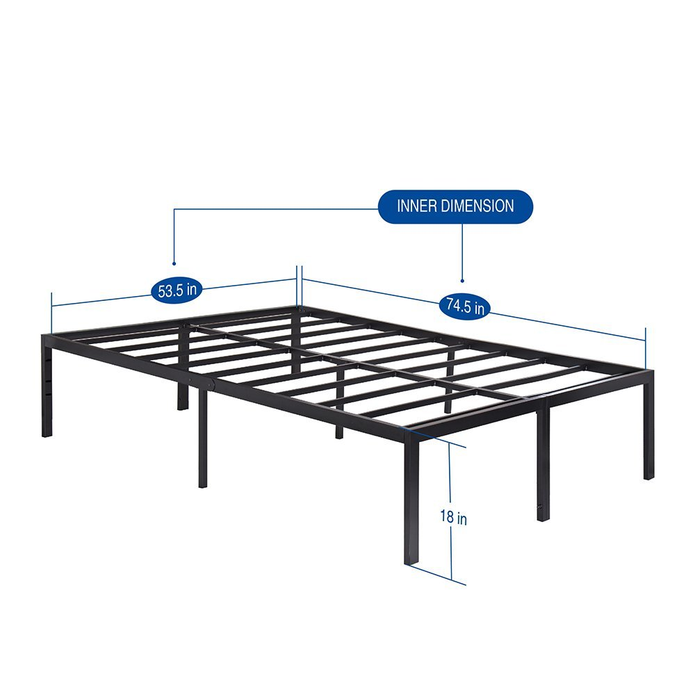 "Olee Sleep Heavy Duty Steel Slat Bed Frame, Queen, 18"" H"