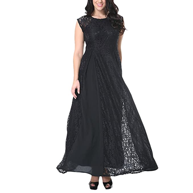 Zhhlinyuan Vestidos de Fiesta Mujer Largos Vintage, Lacey Escote Manga del Casquillo Formal Fiesta Noche
