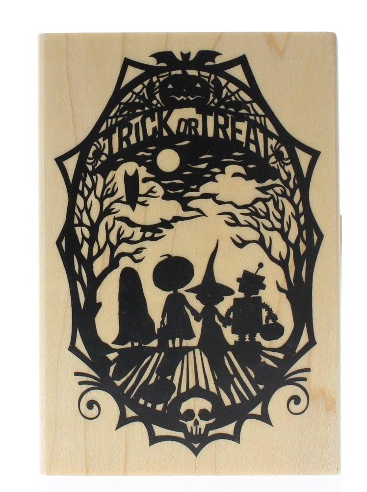 Inkadinkado Halloween Mounted Rubber Stamp, Trick or Treat Paper Cut