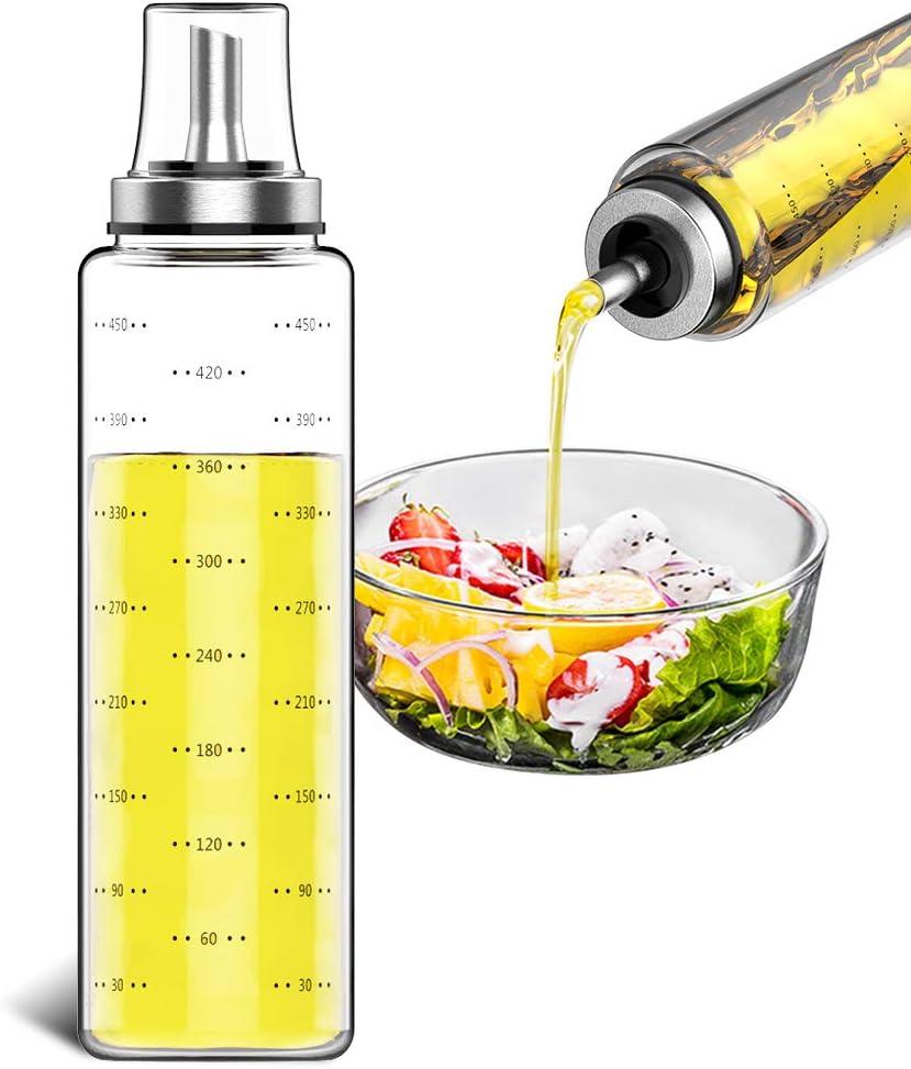 GeeRic Oil Dispenser for Cooking 500ML Capacity Food-grade Glass Bottle Vinegar Dispenser for Cooking BBQ Salad with Oil Funnel Basting Brush & Cleaning Brush