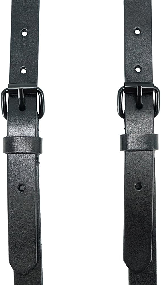 Mens Black Genuine Leather Steampunk Y Suspenders with 3 Snap Hooks Great for Wedding /& Party