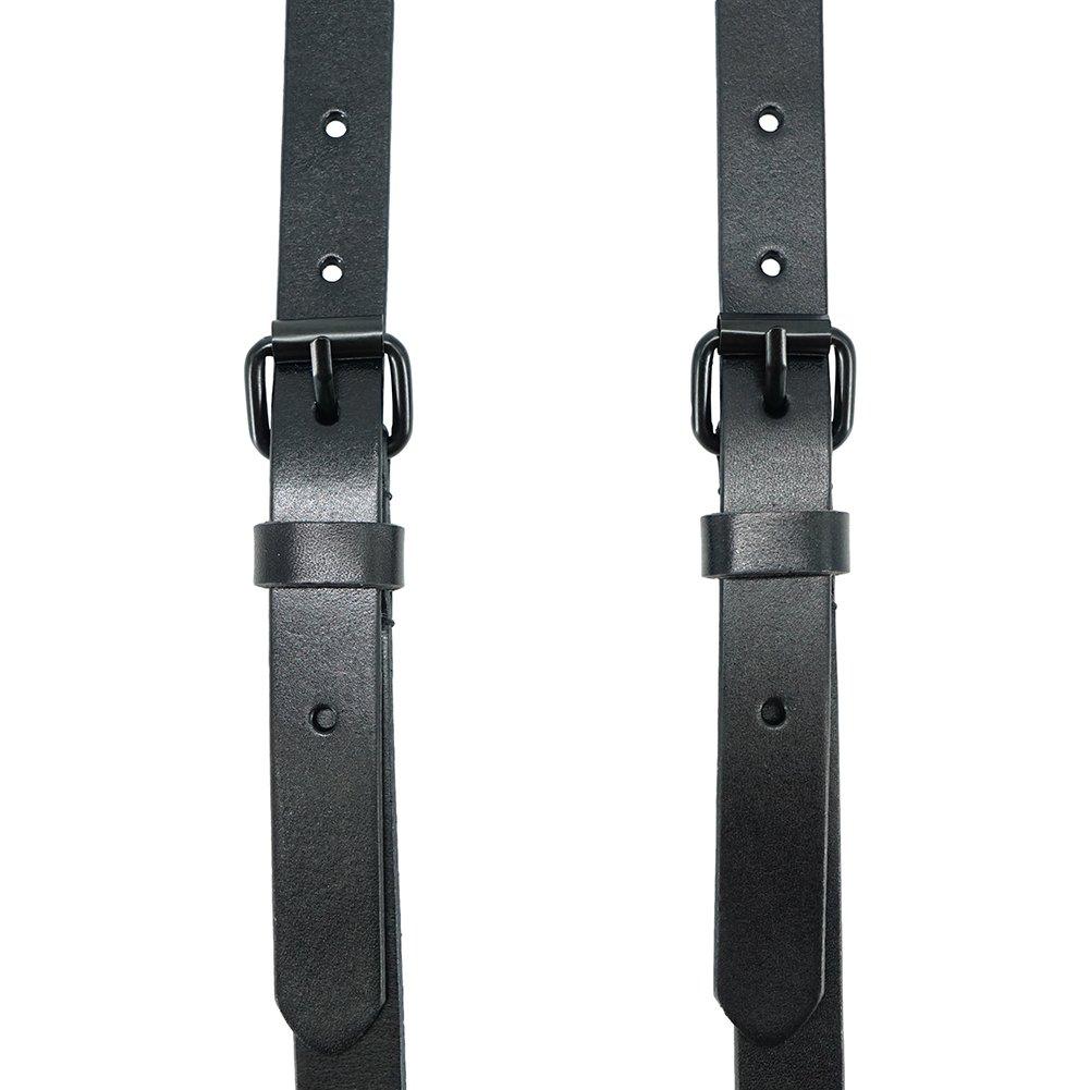 Lawevan Lega 1,8 cm di larghezza Nero in pelle con tre chiusure a forma di Y Bretelle