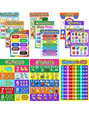 Educational Preschool Poster for Toddlers and Kids with 80 Glue Point Dot, Great for Nursery Homeschool Kindergarten Classroom - Teach Numbers Alphabet Colors Days and More, 16 x 11 Inch (12)