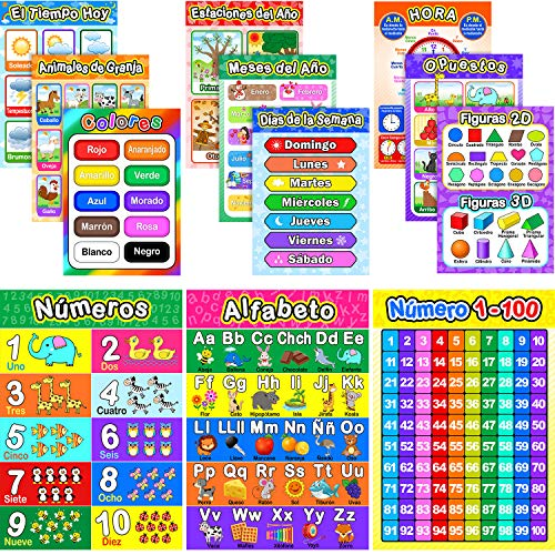 Educational Spanish Preschool Poster with Glue Point Dot for Homeschool Kindergarten Classroom, Spanish Posters Classrooms Decorations-Teach Numbers Alphabet Colors and More 16 x 11 Inch (12 Pieces)