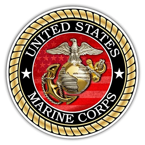 Flag Corps Marine Decal (US Marine Corps Sticker for Cars Trucks for Honor and Support of Our Troops Vinyl Window Bumper 4 x 4 inch)