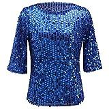 Women Sequin Sparkle Glitter Tank Coctail Party Tops T-Shirt Blouses (X-Large, Blue)