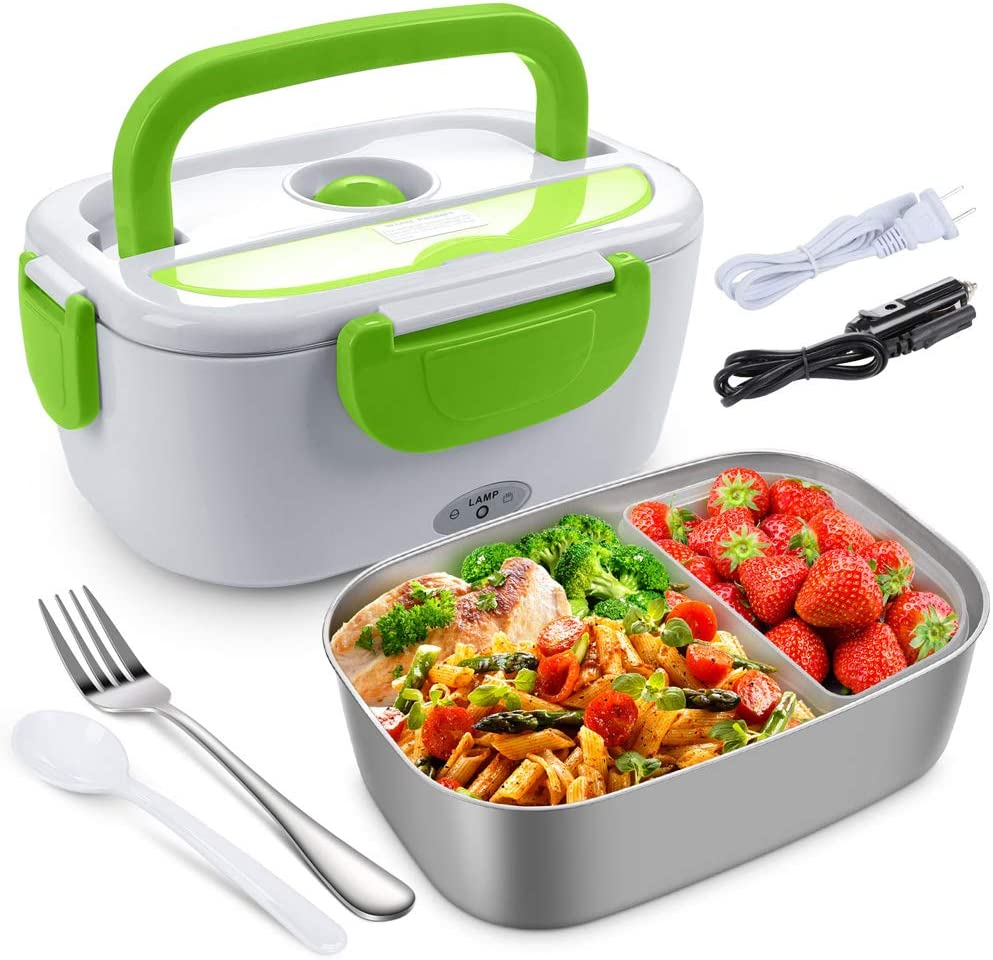 Electric Lunch Box for Car, Home, Office - 110V/12V 40W Portable Electric Food Warmer Heater Lunch Box With Food-Grade Stainless Steel Container, 1 Fork & 1 Spoon - Green