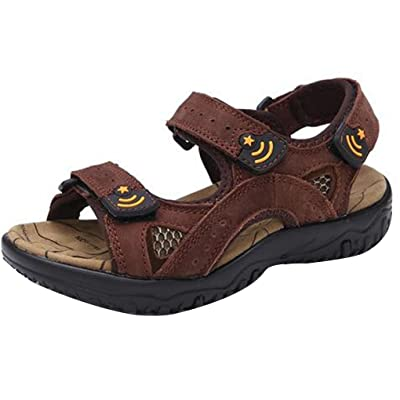 Naughtykids Boys Top Layer Leather Outdoor Sports Two-Strap Beach Sandal