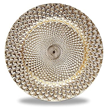 Fantastic:) 6pcs/Set New Claassic Design Round 13 x13  Charger Plates with Shinny Finish (Peacock Gold)