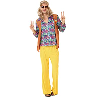 amazon com groovy hippie men s halloween costume 60 s hazy