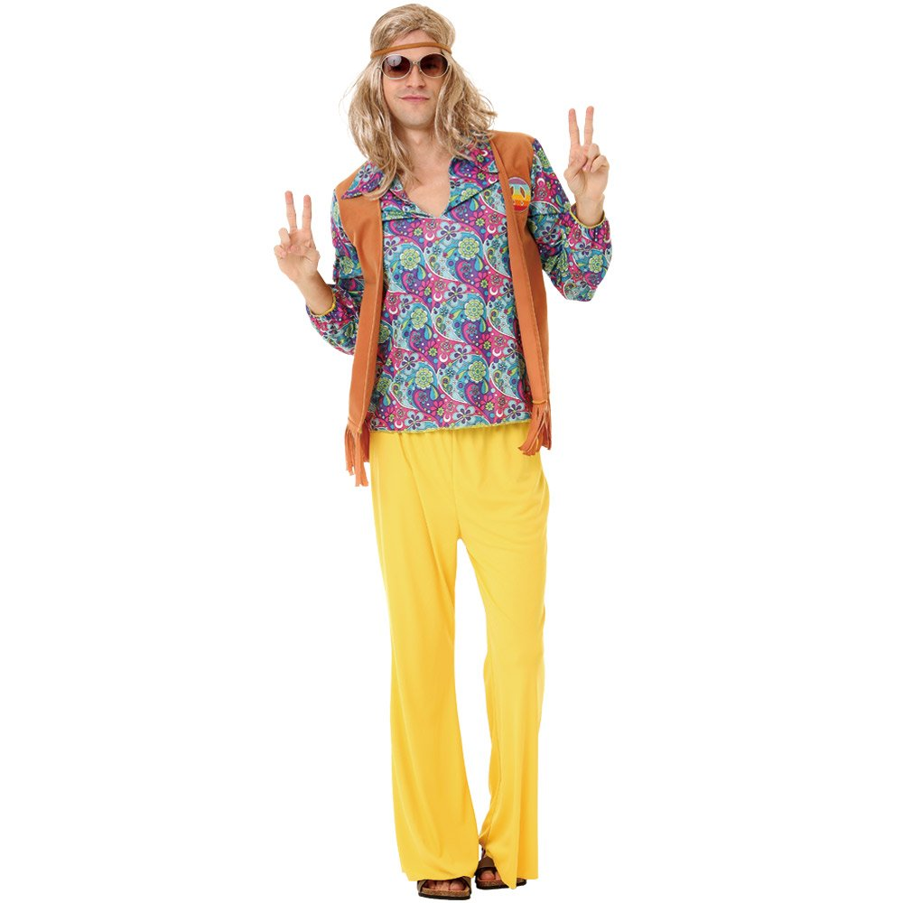 Groovy Hippie Men's Halloween Costume 60's Hazy Psychedelic & Funky Outfit