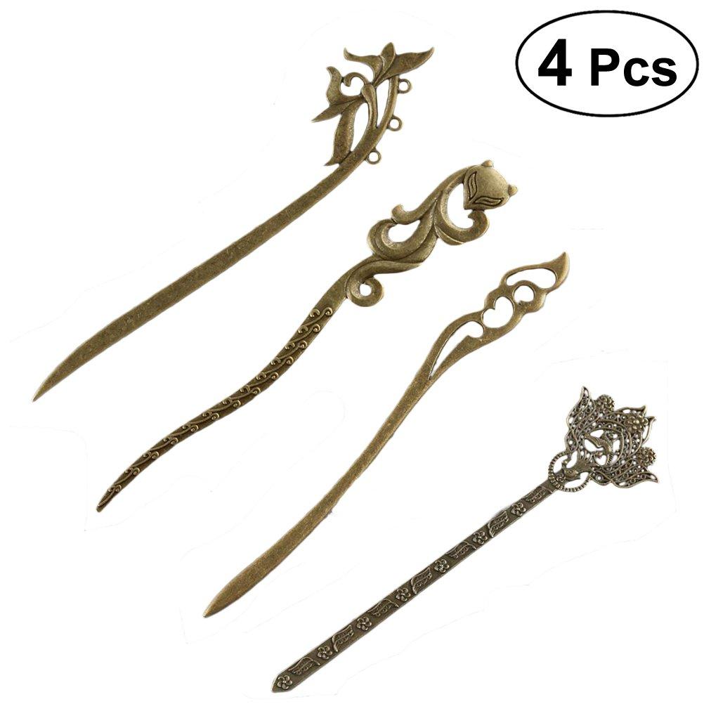 Frcolor Pack of 4 Styling Hair Pin Set Metal Hair Stick Chignon Pin Hair Fork Retro Hair Chopsticks for Women Lady
