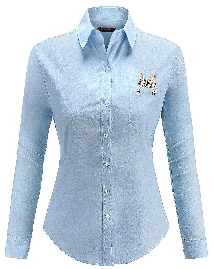 Dioufond Camisas Bordadas para Mujer con diseño de Gato