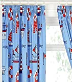 BOAT YARD SHIP LIGHTHOUSE FULLY LINED CURTAINS SET 66' X 72' MATCHES DUVET NEW