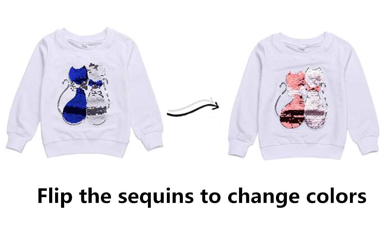 Girls Boys Children Magic Sequin T-Shirt Sweatshirt Cotton Pullover Top