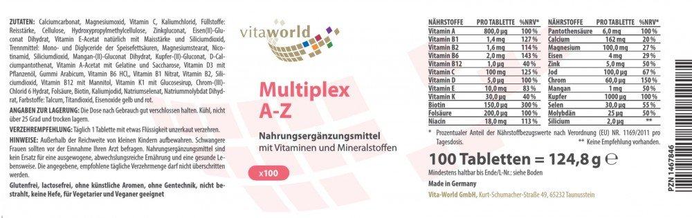 Pack de 3 Complejo Multivitamínico A-Z / 3 x 100 Comprimidos Vita World Farmacia Alemania Vitaminas y Minerales: Amazon.es: Salud y cuidado personal