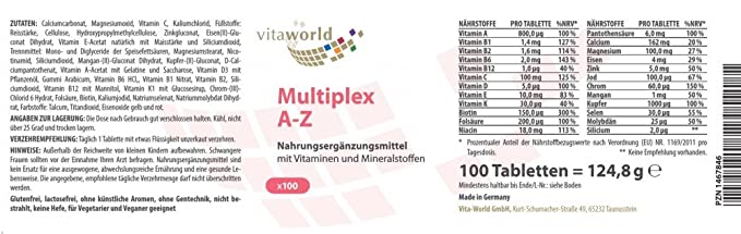 Complejo Multivitamínico A-Z 100 Comprimidos Vita World Farmacia Alemania Vitaminas y Minerales: Amazon.es: Salud y cuidado personal