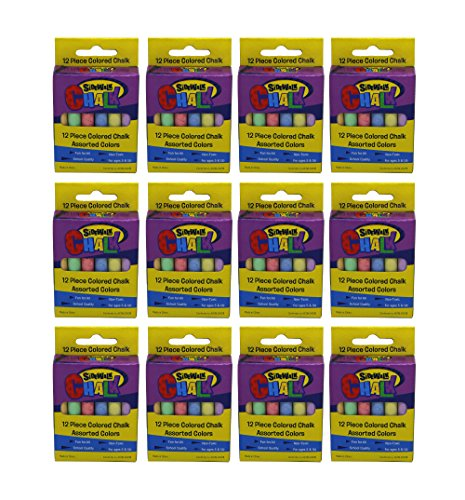 Sidewalk Chalk For Day Camps And Outdoor Party Activities - 12 Assorted Color Chalks Per Box (12 Boxes Per Order)