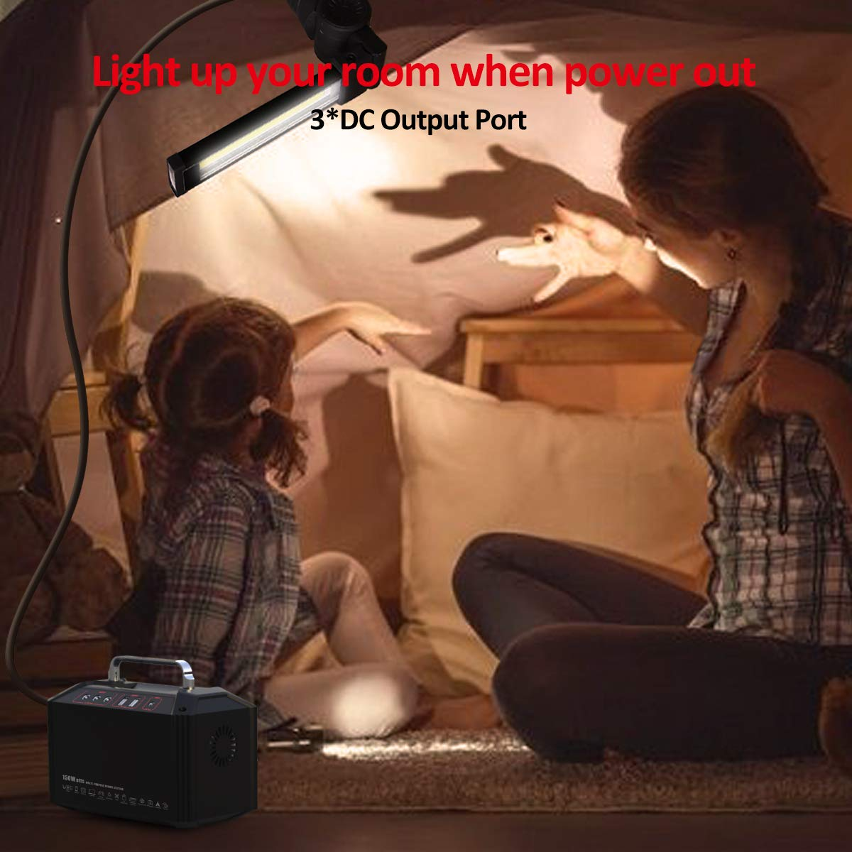 PAXCESS Generator Portable Power Station-[150W Upgraded]-Lithium Battery Pack Supply with 110V AC Outlet, 3 DC 12V Ports, 2 USB Port, Solar Electric Small Generators for Camping Travel Home Emergency by PAXCESS (Image #5)