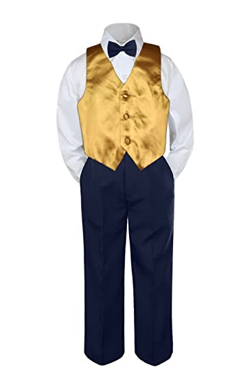 f452917a7 Image Unavailable. Image not available for. Color: 4pc Baby Toddler Kid Boys  Gold Vest Navy Blue Pants Bow Tie Suits Set (5