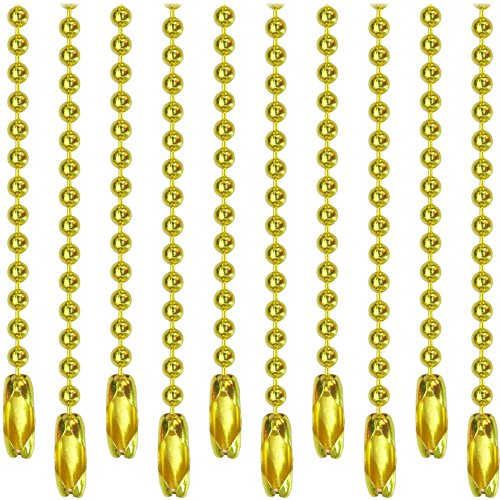 Yellow Metal Ball Chain Necklaces and Connector Clasps - 30 inch , 2.4 mm #3 Bead (10 pack)