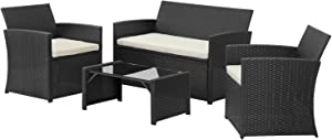4 Pieces Outdoor Patio Furniture Set Black Wicker Rattan Cousioned Sectional Conversation Sofa with Coffee Tea Table for Backyard Porch Garden Poolside Balcony Beige