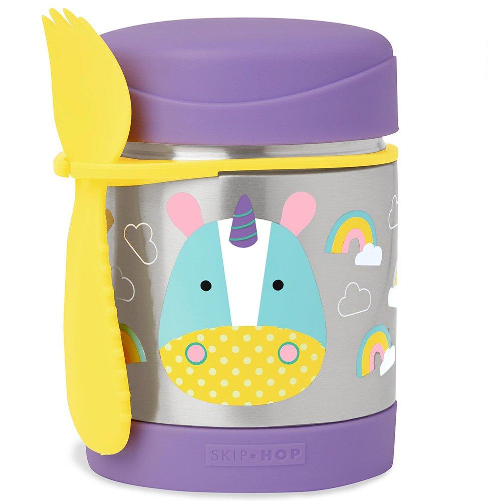 Skip Hop Baby Zoo Little Kid and Toddler Insulated Food Jar and Spork Set, Multi, Eureka Unicorn